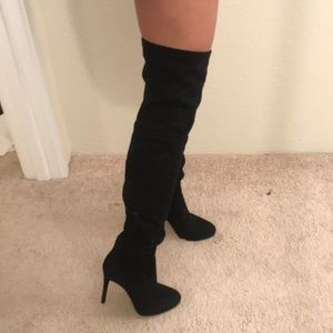 Over the knee black boots- suede feel (6.5)